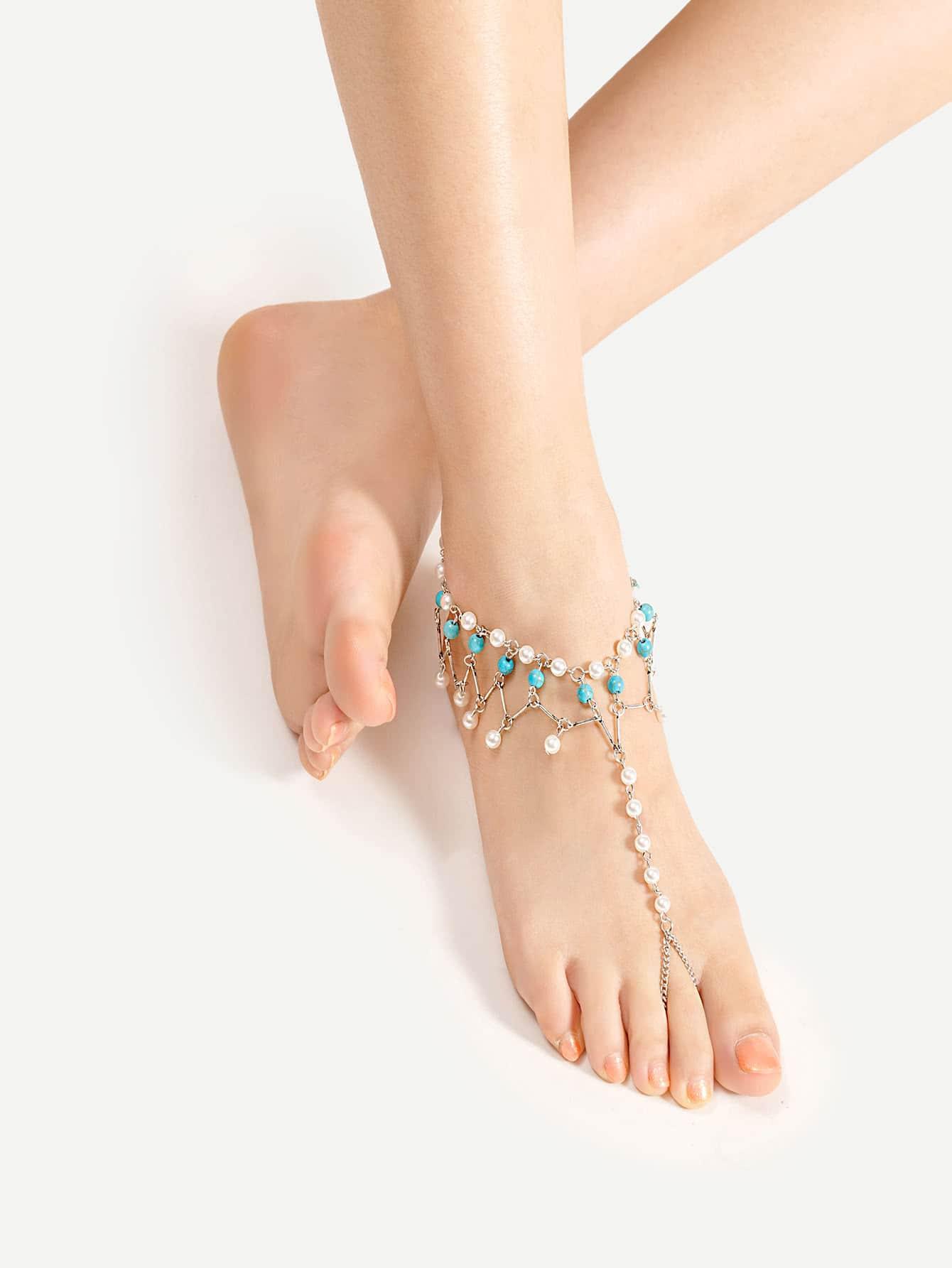 Фото Faux Pearl Design Anklet With Toe Ring. Купить с доставкой