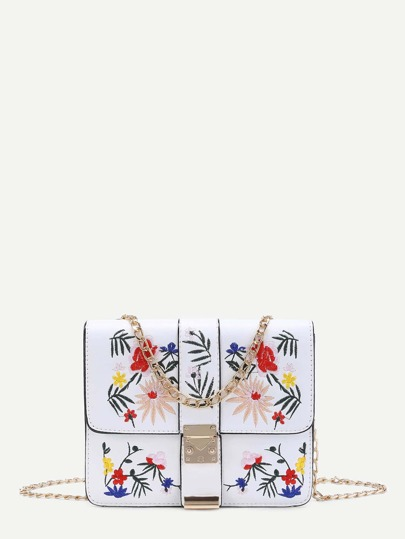 Flower Embroidery Flap Chain Crossbody Bag
