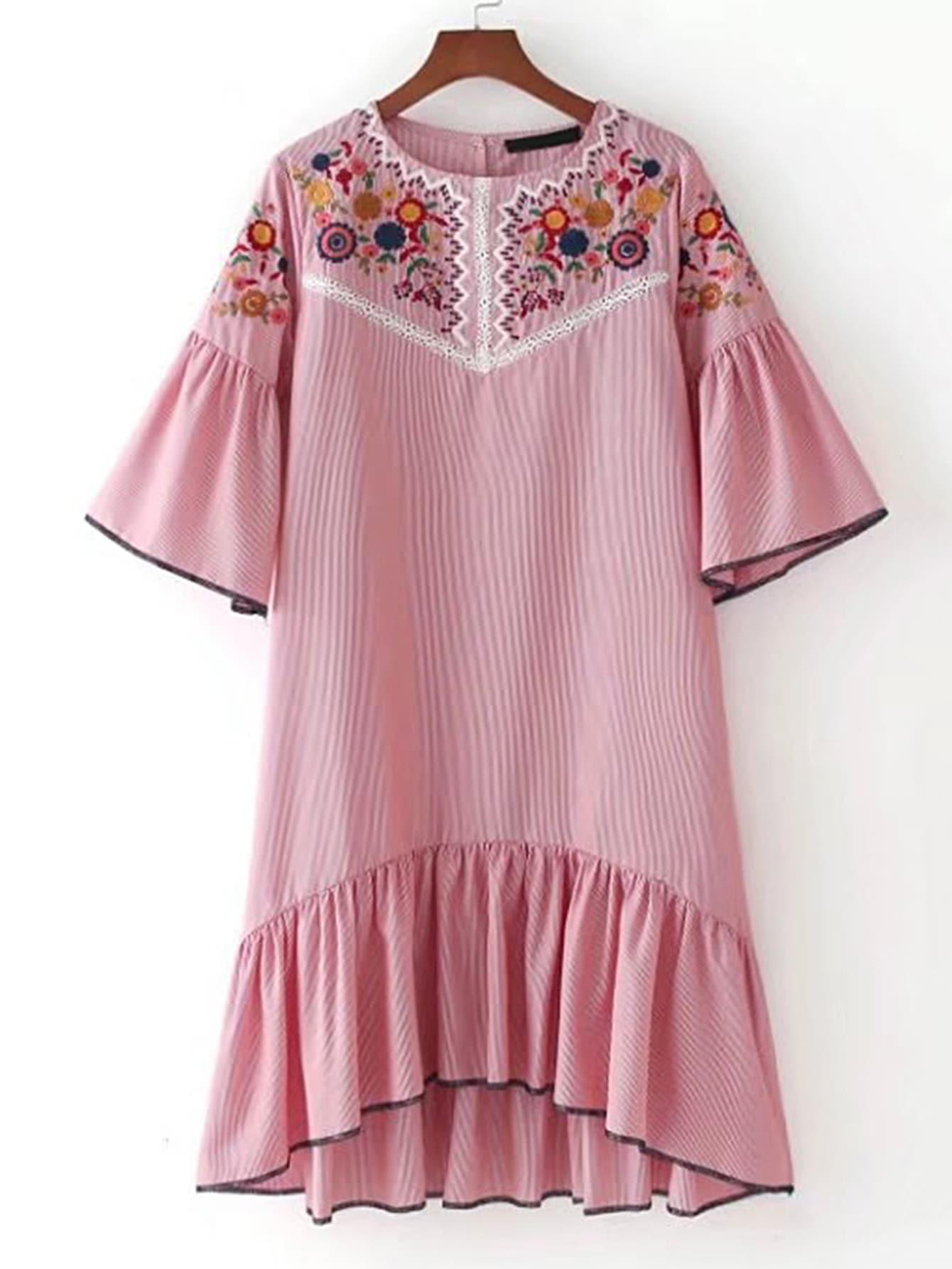 Bell Sleeve Ruffle Hem High Low Dress dress170504205