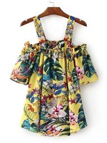 Vestido con estampado floral de hombros descubiertos