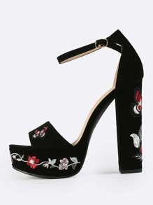 Embroidered Platform Ankle Strap Heels BLACK
