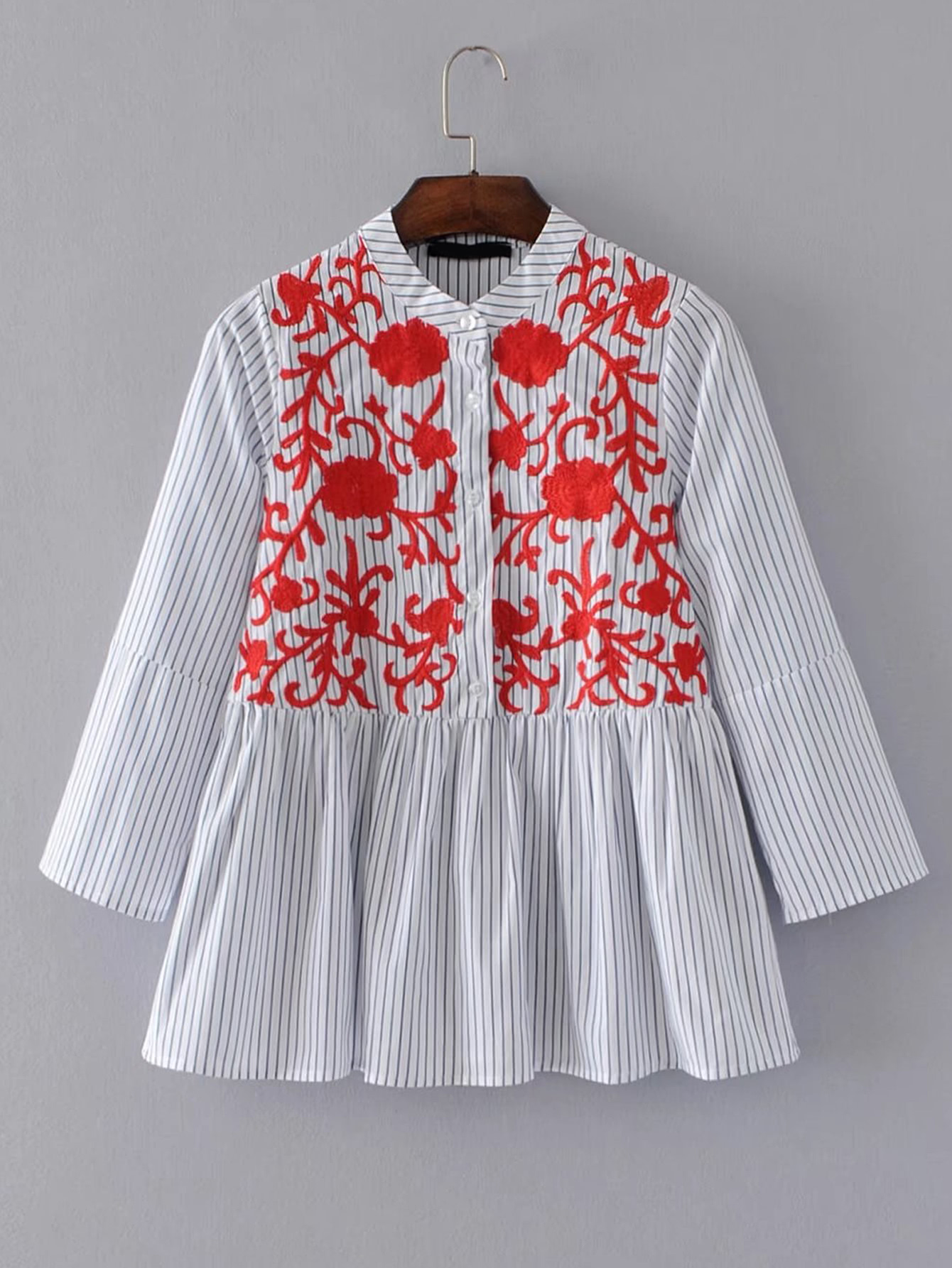 Band Collar Vertical Striped Embroidery Blouse