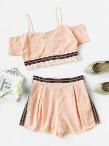Cold Shoulder Embroidered Tape Detail Crop Top With Shorts