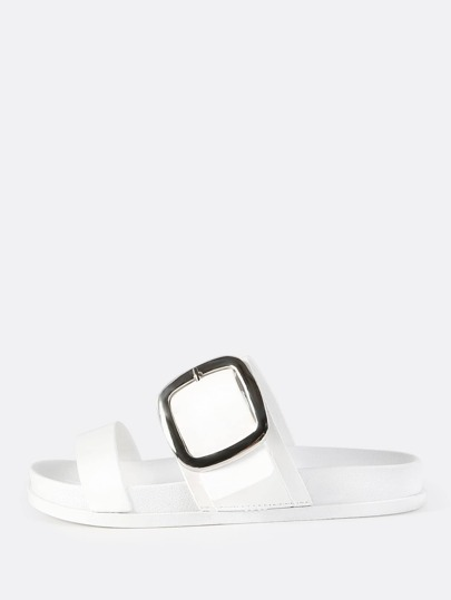 Double Band Buckle Slides WHITE