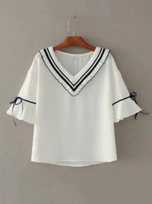 Bell Sleeve Frill Trim Tie Detail Top
