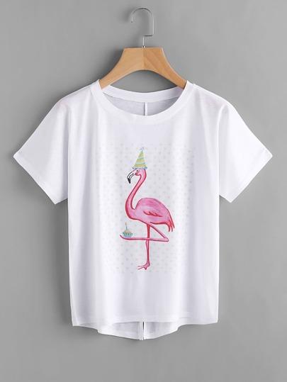 Camiseta asimétrica con impresión y espalda con abertura