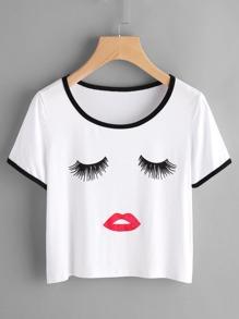 Tee-shirt imprimé découpé bicolore
