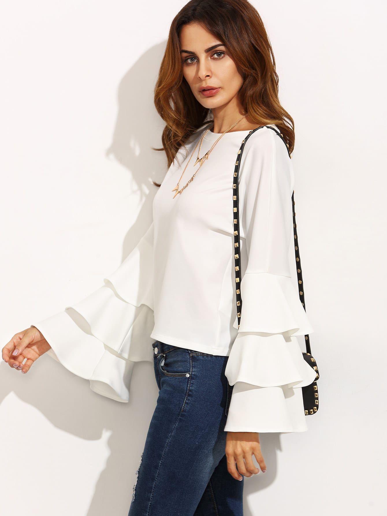 Frill Tiered Fluted Sleeve Top dot mesh overlay frill detail fluted cuff top