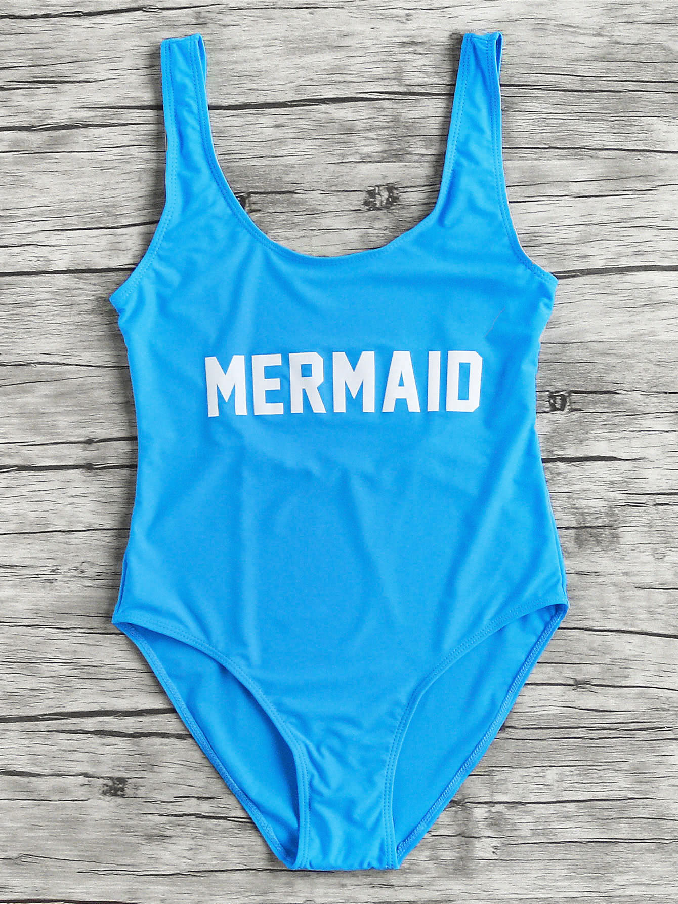 Фото Letter Print Scoop Neck Beach Swimsuit. Купить с доставкой