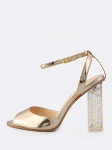 Classy Patent Ankle Strap Crystal Heels CHAMPAGNE