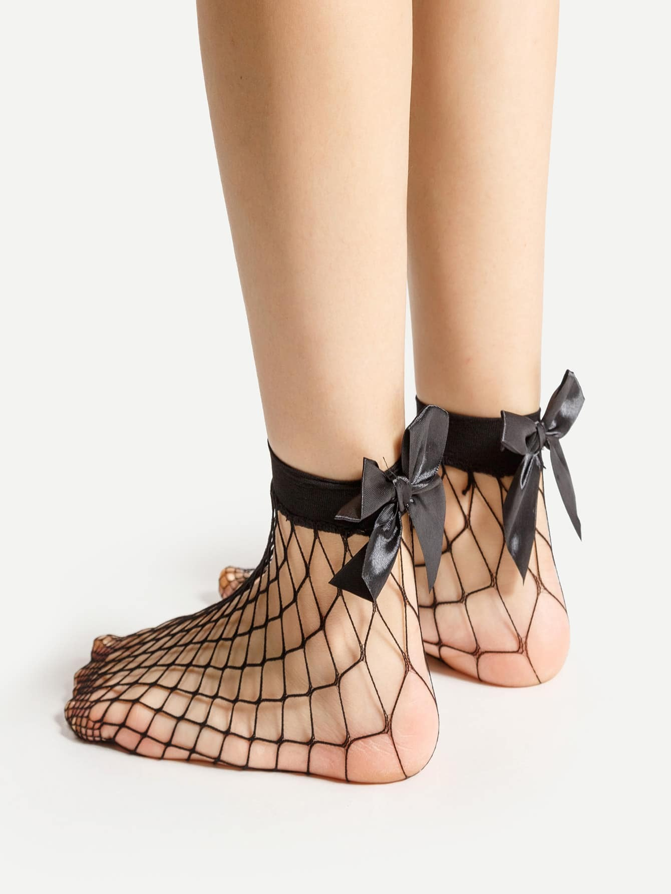 Bow Tie Back Fishnet Ankle Socks fishnet ankle socks