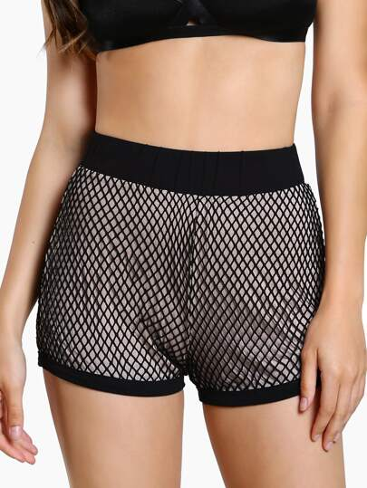 Fishnet Overlay Jogger Shorts BLACK
