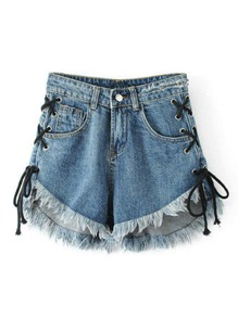 Shorts à lacets à maille en denim