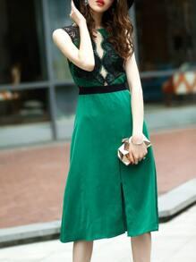 Backless Sheer Contrast Lace Split Dress