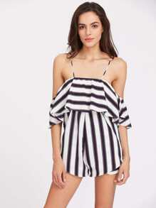 Beading Strappy Back Striped Flounce Playsuit