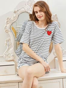 Heart Print Striped Tee With Shorts Pajama Set