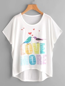 Love Birds Print Dolman Sleeve Dip Hem Tee