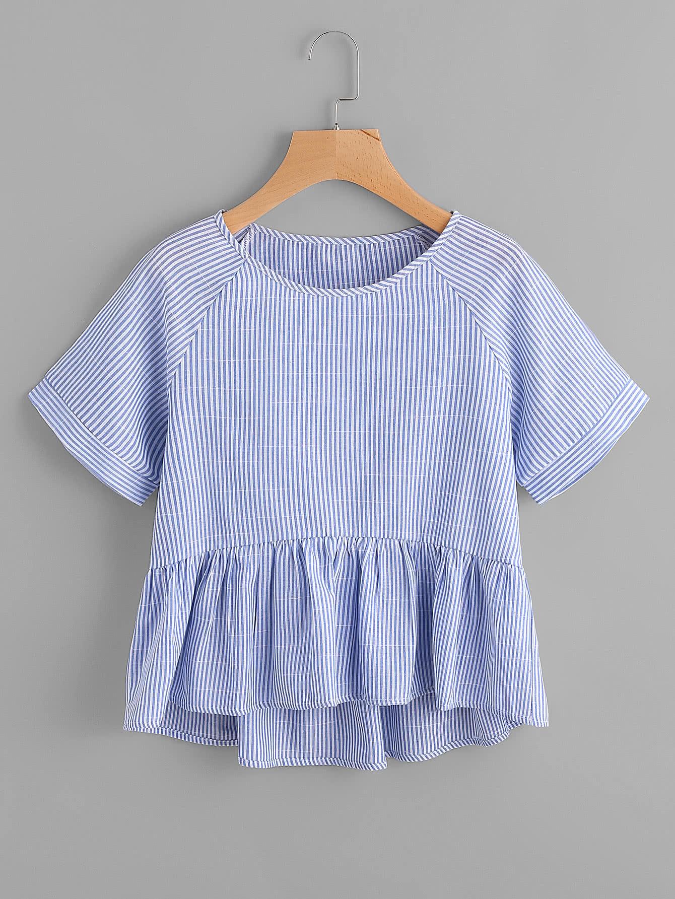 Vertical Striped Raglan Sleeve Smock Blouse raglan sleeve smock gingham dress