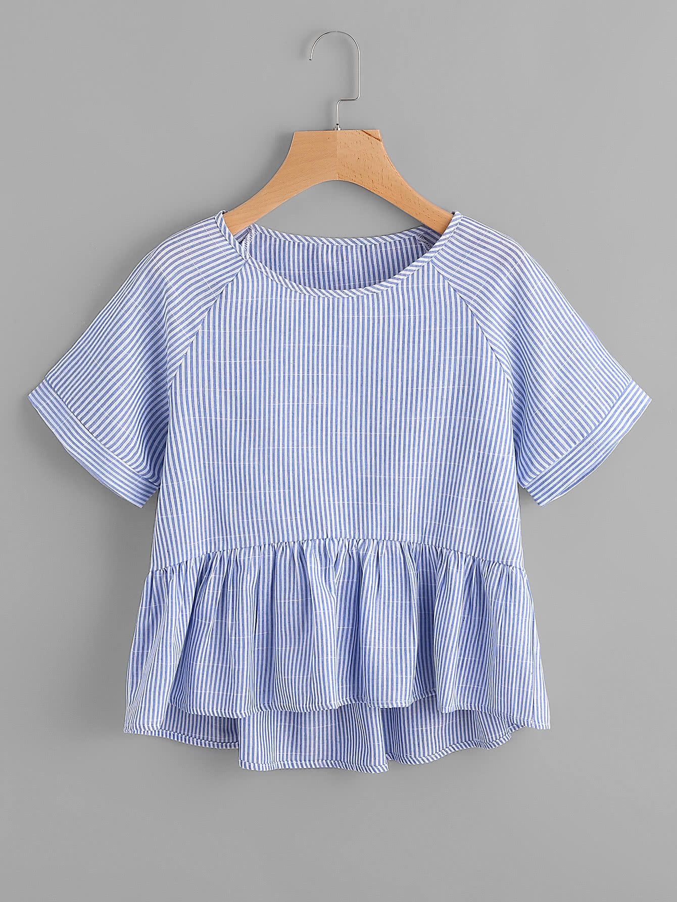 Vertical Striped Raglan Sleeve Smock Blouse blouse170529131