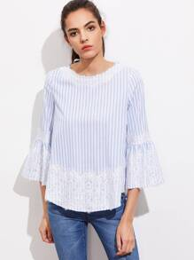 V Cut Tie Back Lace Applique Fluted Sleeve Top