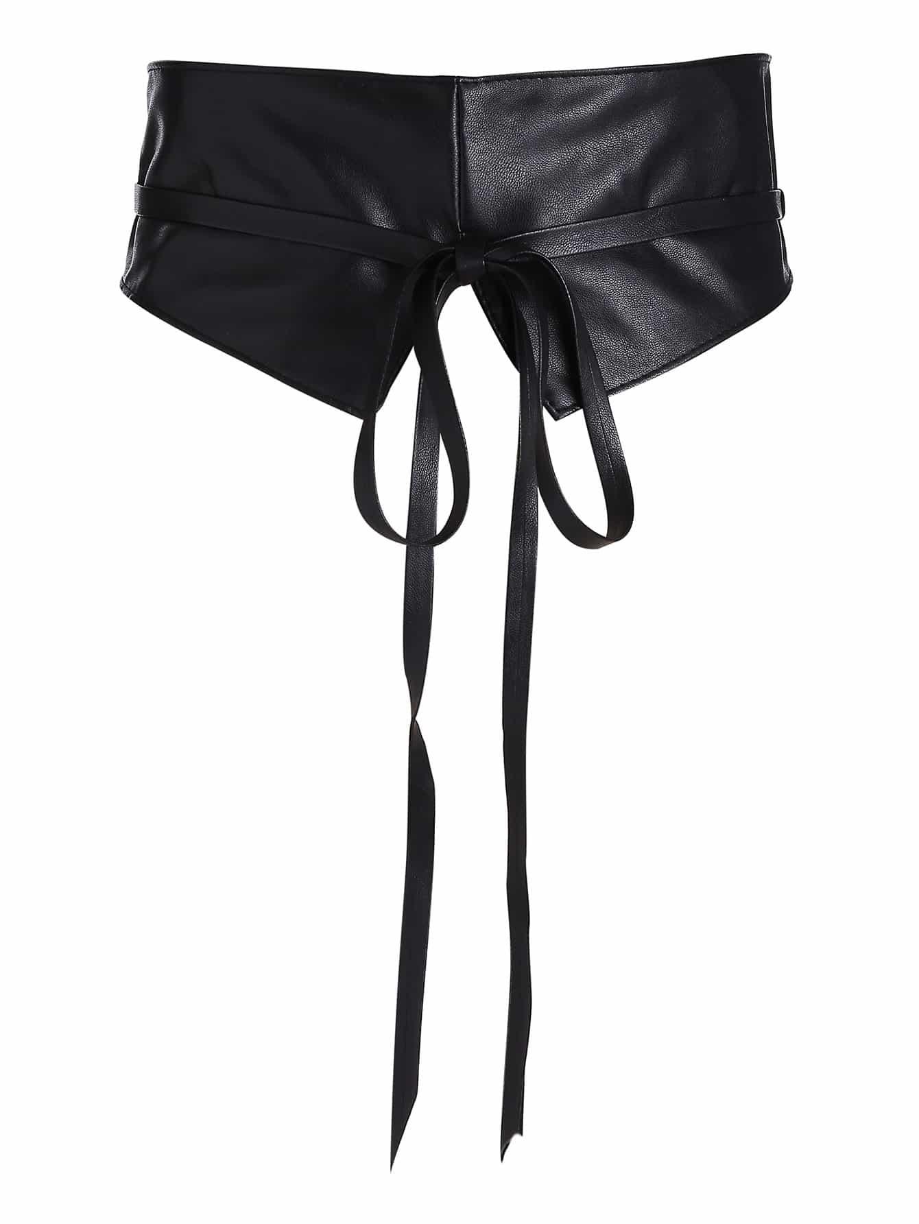 Tie Front Faux Leather Obi Belt все цены