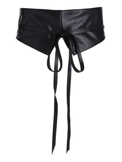 Tie Front Faux Leather Obi Belt