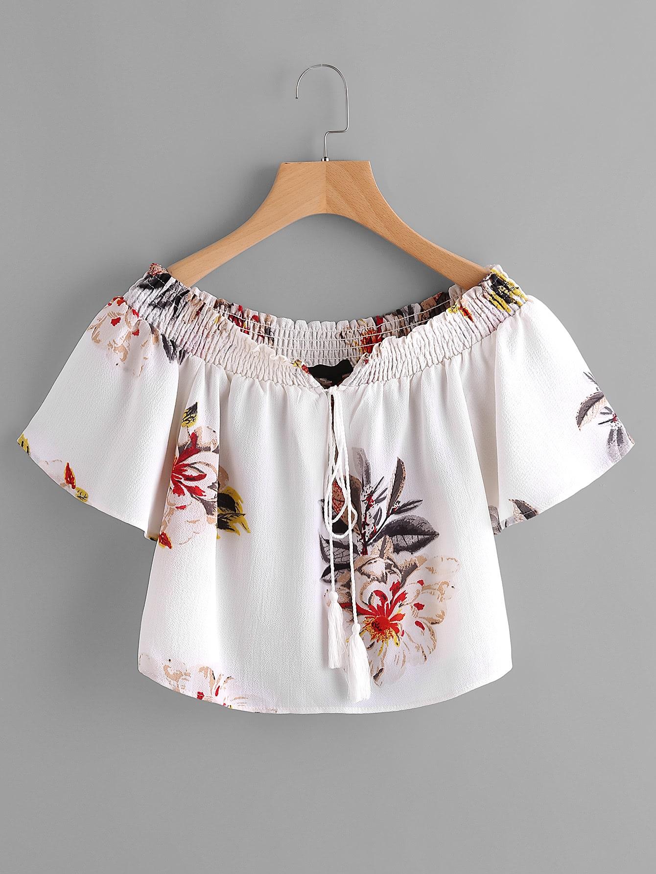 Фото Tassel Tie Florals Top With Shirring. Купить с доставкой