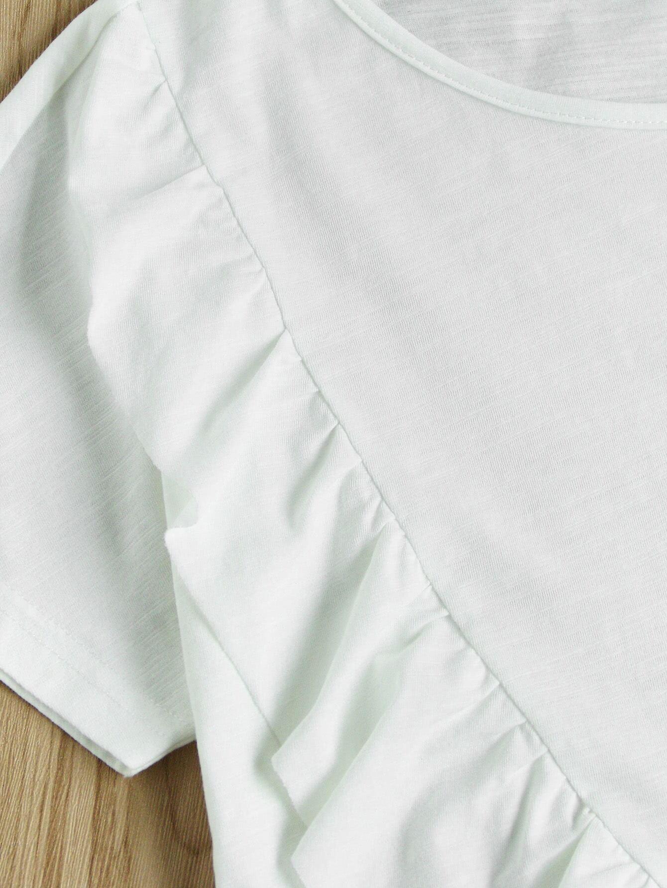 Frilled Detail Overlap Slub T-shirt