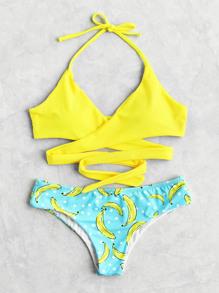 Модный купальник-бикини в горошек с принтом