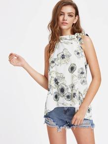 Floral Print Tie Neck Dip Hem Top