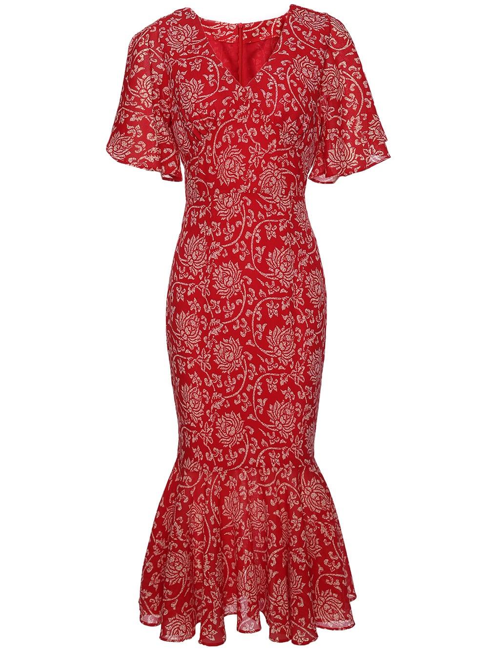 Фото V Neck Ruffle Sleeve Fishtail Print Dress. Купить с доставкой