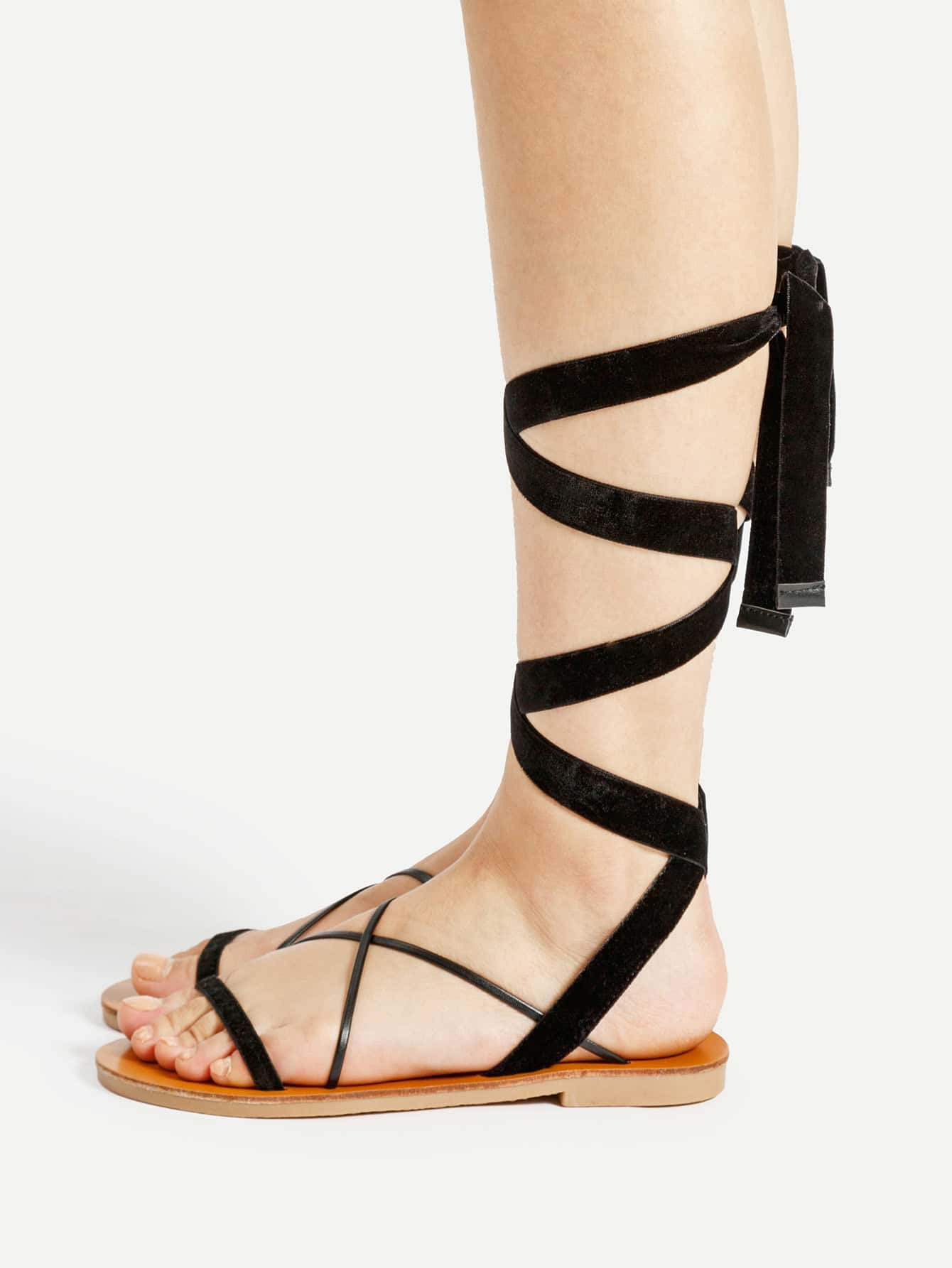 Фото Criss Cross Velvet Flat Sandals. Купить с доставкой