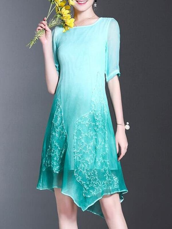 Gradient Embroidered Asymmetric Dress, null