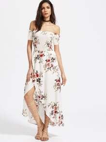 Vestido cruzado fruncido con hombro al aire - blanco