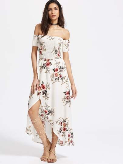 Robe portefeuille épaules dénudées imprimée fleuri blanche avec des plis
