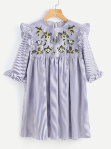 Embroidered Yoke Ruffle Trim Striped Babydoll Dress
