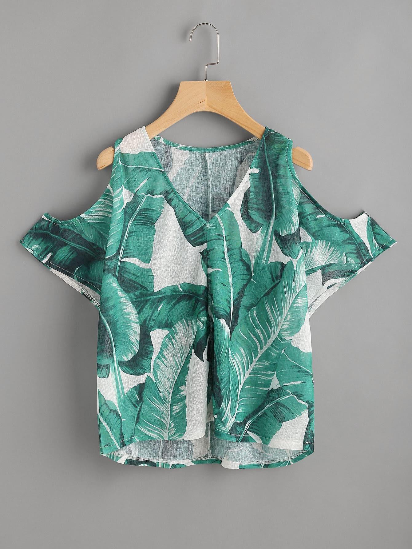 Фото Palm Leaf Print Open Shoulder Top. Купить с доставкой