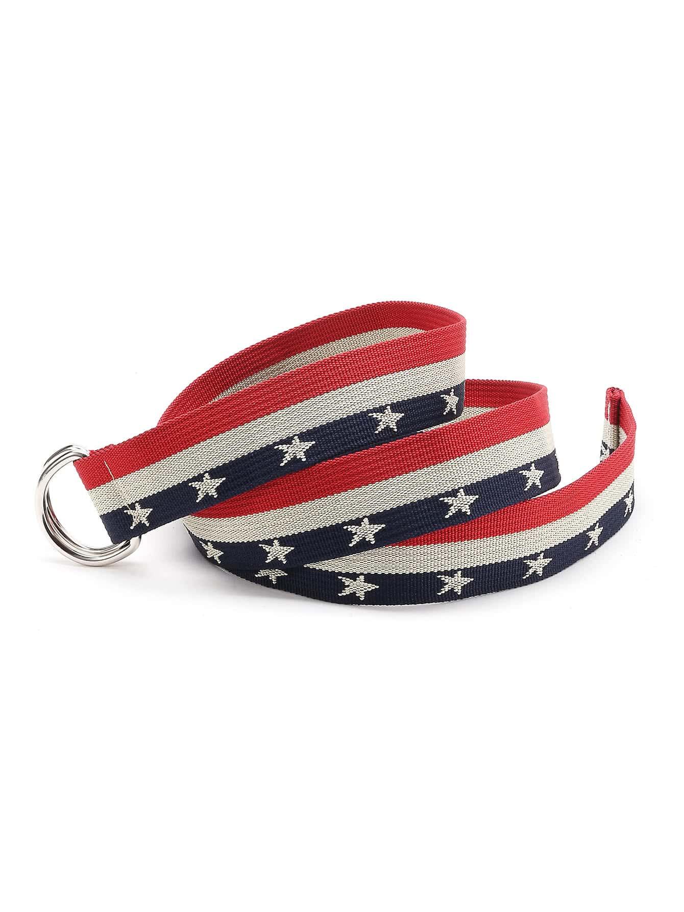 Фото Color Block Star Print Double D-Ring Belt. Купить с доставкой