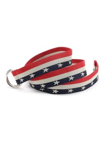 Color Block Star Print Double D-Ring Belt