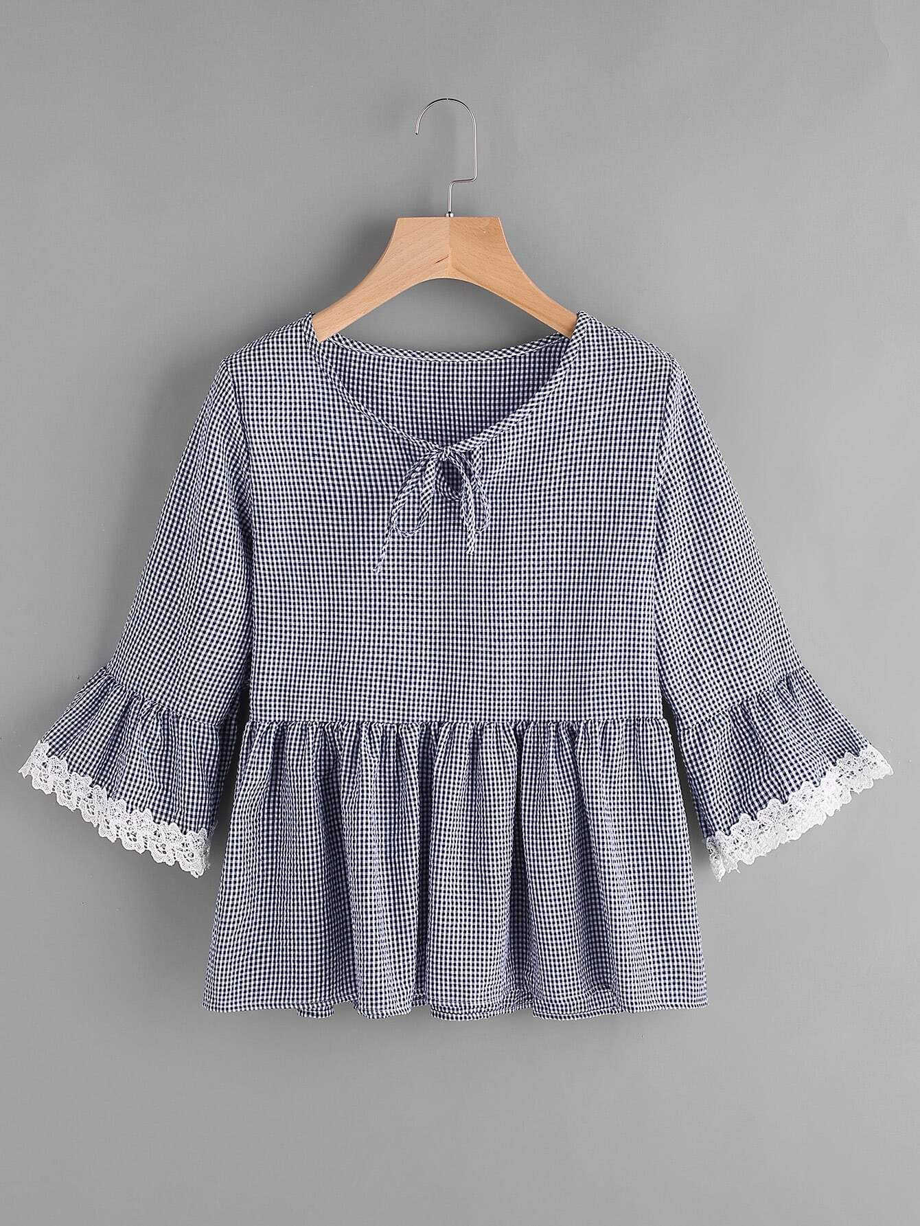 все цены на Gingham Bell Sleeve Lace Trim Smock Top