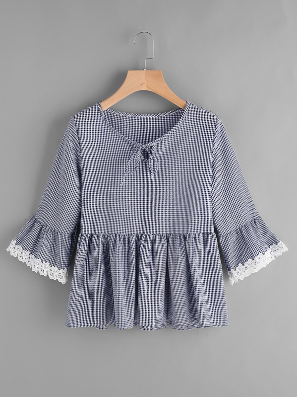 Gingham Bell Sleeve Lace Trim Smock Top, null