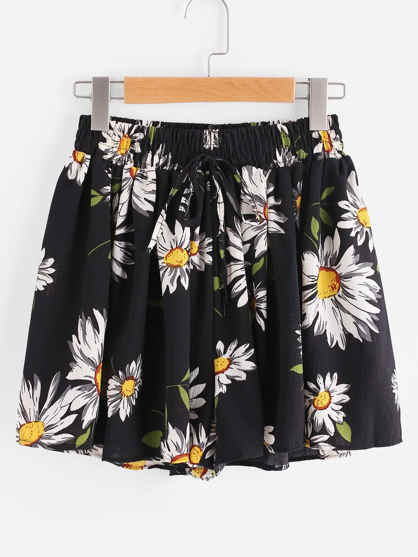 Фото Sunflower Print Random Drawstring Shirred Waist Chiffon Shorts. Купить с доставкой