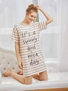 Contrast Striped Slogan Print Night Dress