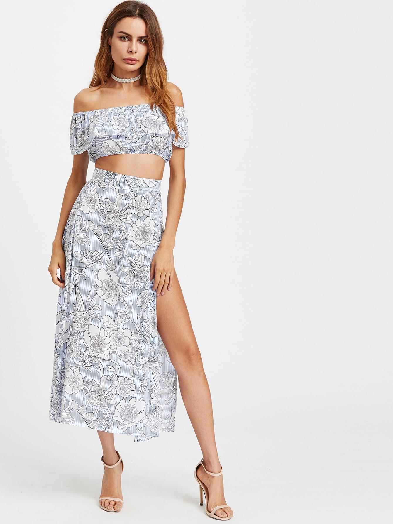 Bardot Floral Print Crop Top With Slit Side Skirt bardot embroidered appliques crop top