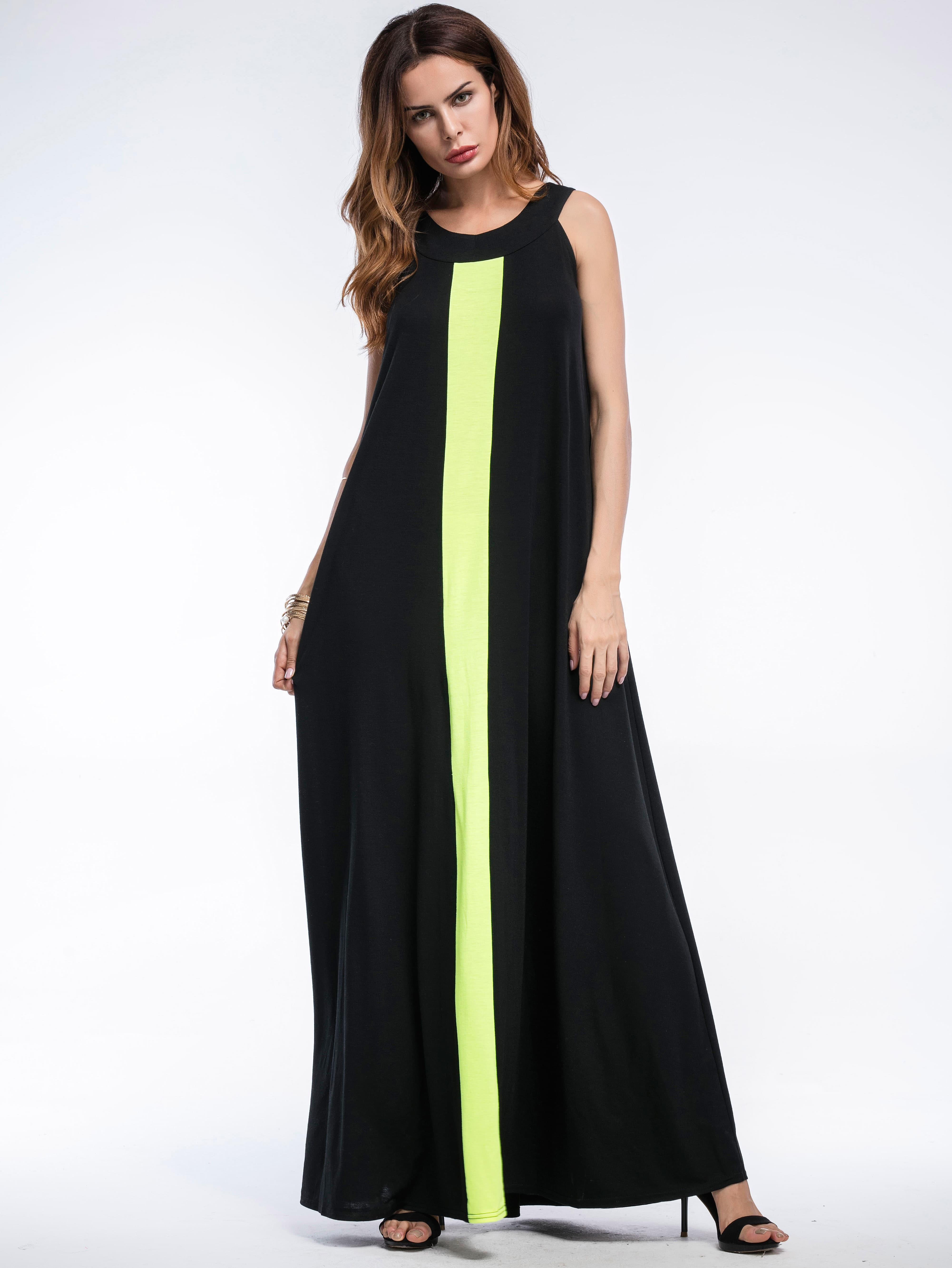 Фото Contrast Panel Full Length Dress. Купить с доставкой