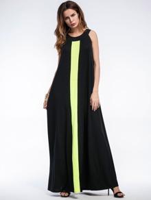 Contrast Panel Full Length Dress