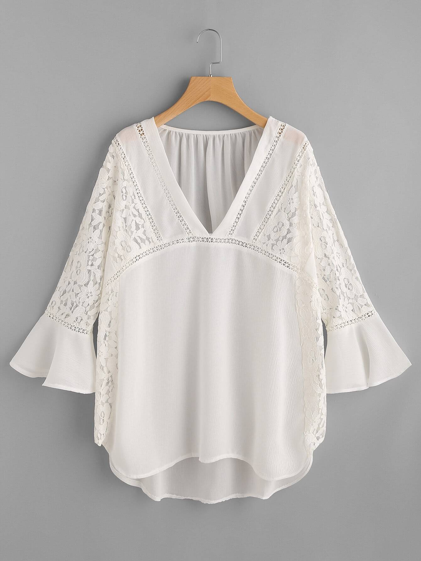 Lace Insert Plunge Neckline Bell Sleeve Chiffon Cover Up