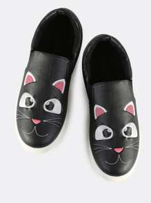 Faux Leather Kitty Slip On Sneakers BLACK