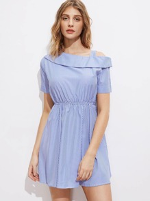Vertical Striped Asymmetric Cold Shoulder Swing Dress
