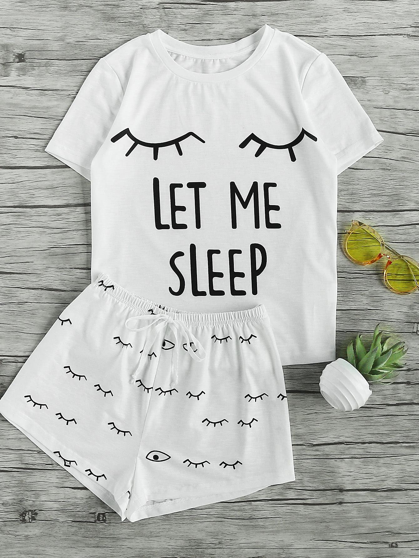 Closed Eyes Print Tee And Shorts Pajama Set